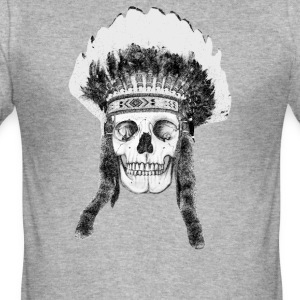 skull indian headdress - skalle T-shirts - Slim Fit T-shirt herr