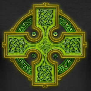 Green Celtic Cross Triskellion.png Tee shirts - Tee shirt près du corps Homme