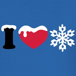 I LOVE SNOW, winter, Snowflake, Heart, Sports, ski T-Shirts - Men's Slim Fit T-Shirt
