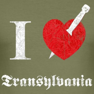 I love Transylvania (white, dd print) T-Shirts - Männer Slim Fit T-Shirt