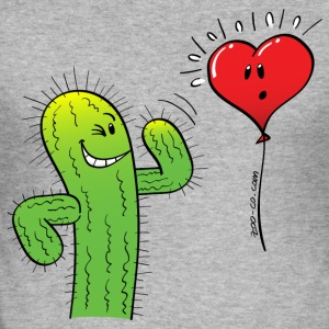 Cactus Flirting with a Heart Balloon T-Shirts - Men's Slim Fit T-Shirt