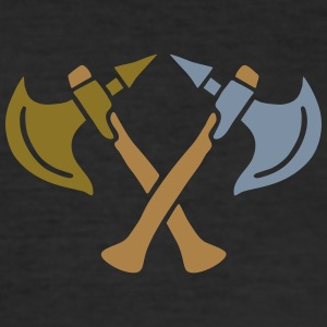 brave warrior gladiator axe tomahawk knights fight T-shirts - Slim Fit T-shirt herr