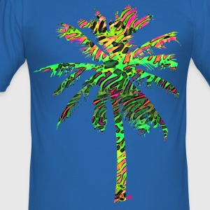 Neon flamingo palmtree T-Shirts - Men's Slim Fit T-Shirt