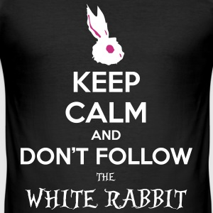 White Rabbit Keep Calm wonderland alice paese - Maglietta aderente da uomo