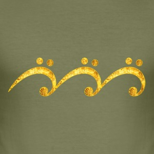 Sheet music bass clef wave, surfing, notes, summer Tee shirts - Tee shirt près du corps Homme