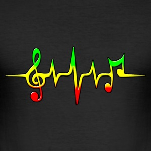 Reggae, music, notes, pulse, frequency, Rastafari Tee shirts - Tee shirt près du corps Homme