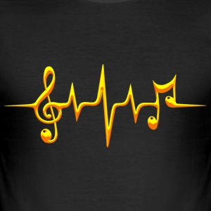 Music, pulse, notes, frequency, clef, bass, sheet T-shirts - slim fit T-shirt