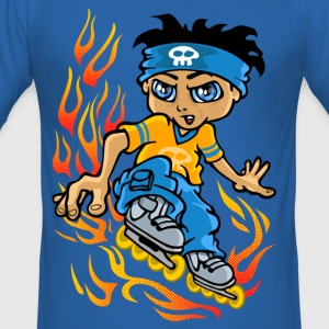 Rollers boy and flames - Tee shirt près du corps Homme