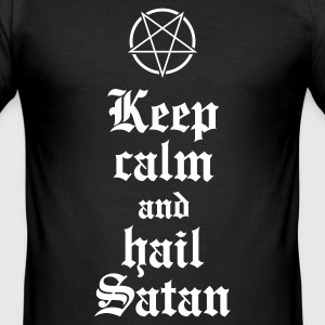 Keep calm and hail Satan V.2 T-Shirts - Männer Slim Fit T-Shirt