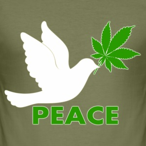 Colombe Cannabis peace - Tee shirt près du corps Homme