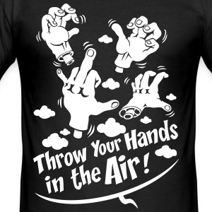 Svart Throw your hands T-shirts - Slim Fit T-shirt herr