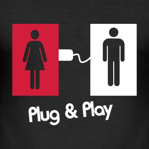 Plug & Play Love Sex Single - Männer Slim Fit T-Shirt