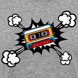 Retro cassette, tape, comic style, pop art, music Camisetas - Camiseta premium hombre