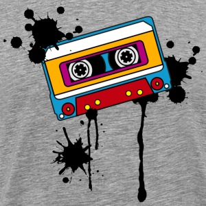 Retro mix tape, splash, splatter, music, 80er T-Sh - Men's Premium T-Shirt