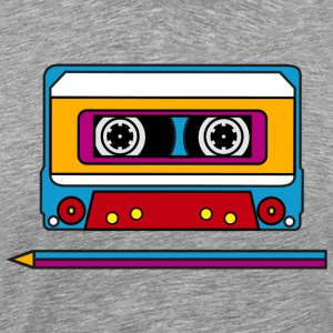 Retro mix tape, pencil, music, audio, walkman T-Sh - Men's Premium T-Shirt