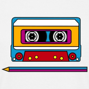 Retro mix tape, pencil, music, audio, walkman Camisetas - Camiseta hombre