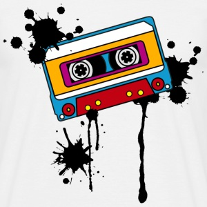 Retro mix tape, splash, splatter, music, 80er Koszulki - Koszulka męska