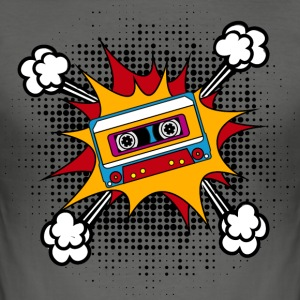 Retro cassette, tape, comic style, pop art, music Camisetas - Camiseta ajustada hombre