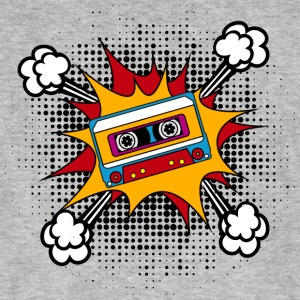 Retro cassette, tape, comic style, pop art, music Magliette - T-shirt ecologica da uomo