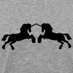 Unicorns 2 fighters attack stallion fight T-Shirts - Men's Premium T-Shirt