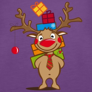 A reindeer with gifts and a Christmas ball Tops - Women's Premium Tank Top