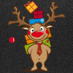 A reindeer with gifts and a Christmas ball Caps & Hats - Snapback Cap