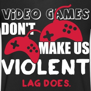 Video games don't make us violent. Lag does T-shirts - Herre T-shirt med V-udskæring