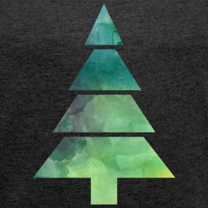 Christmas Tree Watercolor T-Shirts - Women's T-shirt with rolled up sleeves