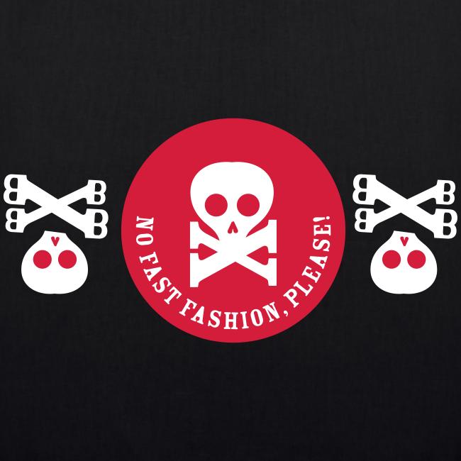 bio-stoffbeutel, no fast fashion, please! skulls, schwarz