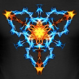 Flame, fractal, elements, power, chi, shield, hero Camisetas - Camiseta ajustada hombre