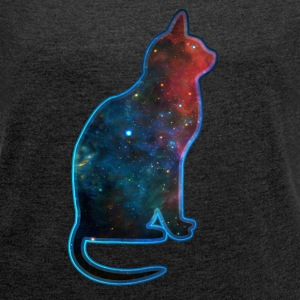Space cat, cosmos, universe, galaxy, milky way T-shirts - Dame T-shirt med rulleærmer