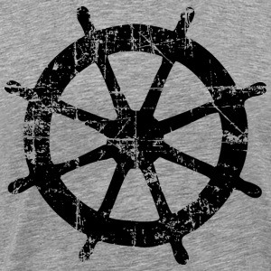 Steering Wheel Vintage Black Sailing Design T-shirts - Mannen Premium T-shirt