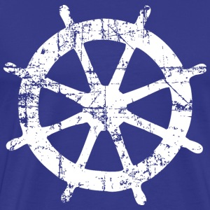 Steering Wheel Vintage White Sailing Design T-Shirts - Men's Premium T-Shirt