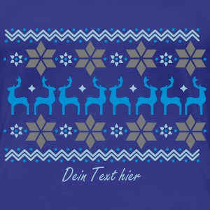 Poinsettia pattern and reindeer pattern  T-Shirts - Women's Premium T-Shirt