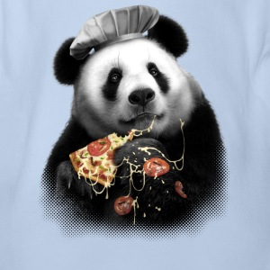PANDA LOVES PIZZA - Organic Short-sleeved Baby Bodysuit
