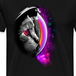 Sort Spacecat T-shirts - Herre premium T-shirt