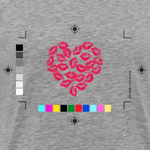 Heather grey Kissing Lips Heart T-Shirts - Men's Premium T-Shirt