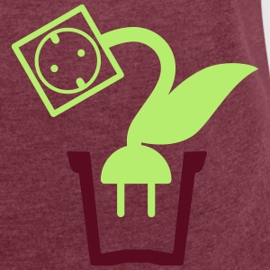 Green power plant pot - 2 Color Vector T-Shirts - Women's T-shirt with rolled up sleeves