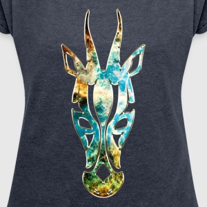 Antelope, Africa Space, cosmos, galaxy, outerspace T-shirts - Vrouwen T-shirt met opgerolde mouwen