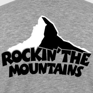 Rockin' the Mountains T-Shirt (Herren Grau) Rücke - Männer Premium T-Shirt