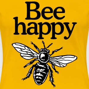 Bee Happy Beekeeper Quote Design (two-color) T-shirts - Dame premium T-shirt