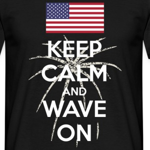 Keep Calm and Wave on (dark) Tee shirts - T-shirt Homme