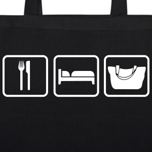 Eat Sleep Shopping, Essen Schlafen Einkaufen Bags & Backpacks - EarthPositive Tote Bag
