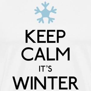 keep calm winter holde ro vinter T-shirts - Herre premium T-shirt
