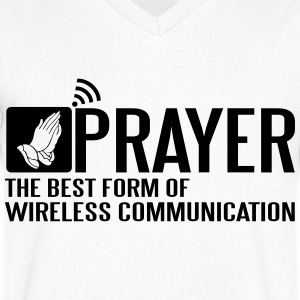 Prayer - the best wireless communication T-shirts - T-shirt med v-ringning herr