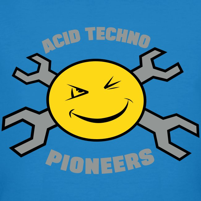 """Acid Techno Pioneers Collection Mens Organic Tshirt """"EarthPositive Silver"""