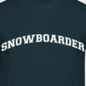Snowboarder Cool College Style Arched Logo - Men's T-Shirt