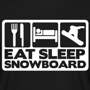 Eat Sleep Snowboard Boxed & Text - T-shirt Homme