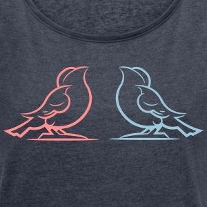 Two Birdies - Women's T-shirt with rolled up sleeves