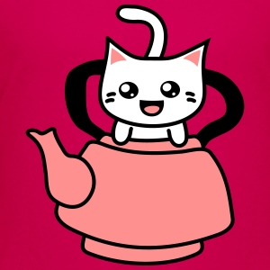 Kawaii Kitteh in Teapot T-Shirts - Kinder Premium T-Shirt